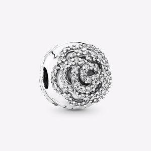 Pandora Shimmering Rose Clip, Clear CZ